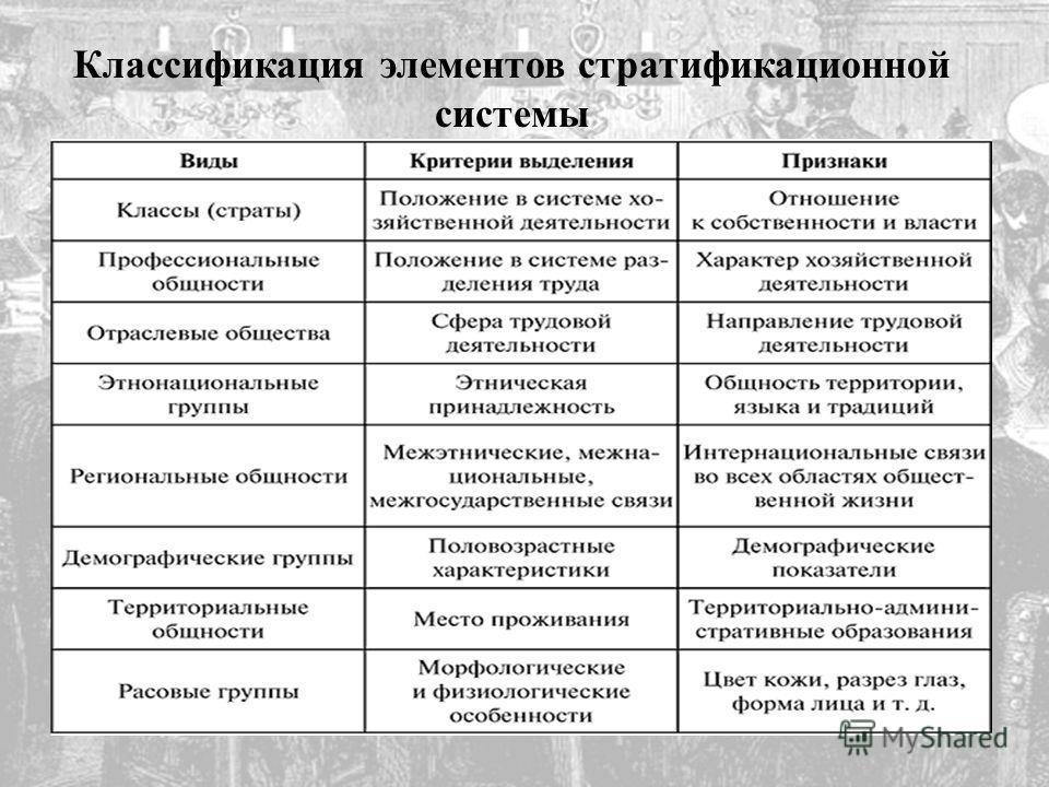 Классификация элементов стратификационной системы