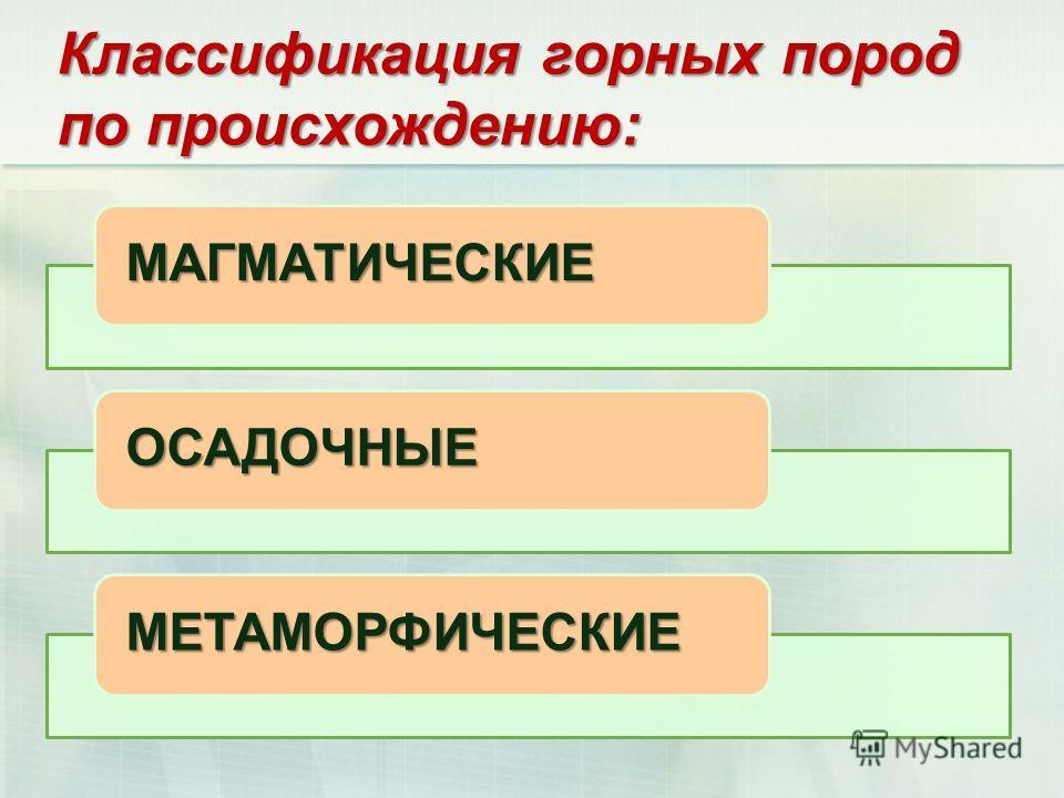 Классификация горных пород по происхождению: МАГМАТИЧЕСКИЕ ОСАДОЧНЫЕ МЕТАМОРФИЧЕСКИЕ