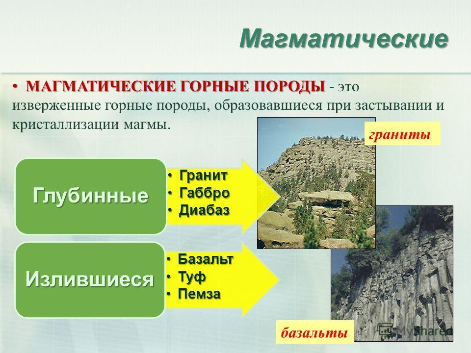 Магматические МАГМАТИЧЕСКИЕ ГОРНЫЕ ПОРОДЫ МАГМАТИЧЕСКИЕ ГОРНЫЕ ПОРОДЫ - это изверженные горные породы, образовавшиеся при застывании и кристаллизации магмы. базальты граниты ГранитГранит ГабброГаббро ДиабазДиабаз Глубинные БазальтБазальт ТуфТуф Пемза