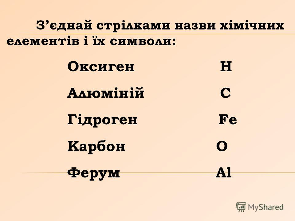 Зєднай стрілками назви хімічних елементів і їх символи: Оксиген Н Алюміній С Гідроген Fe Карбон О Ферум Al