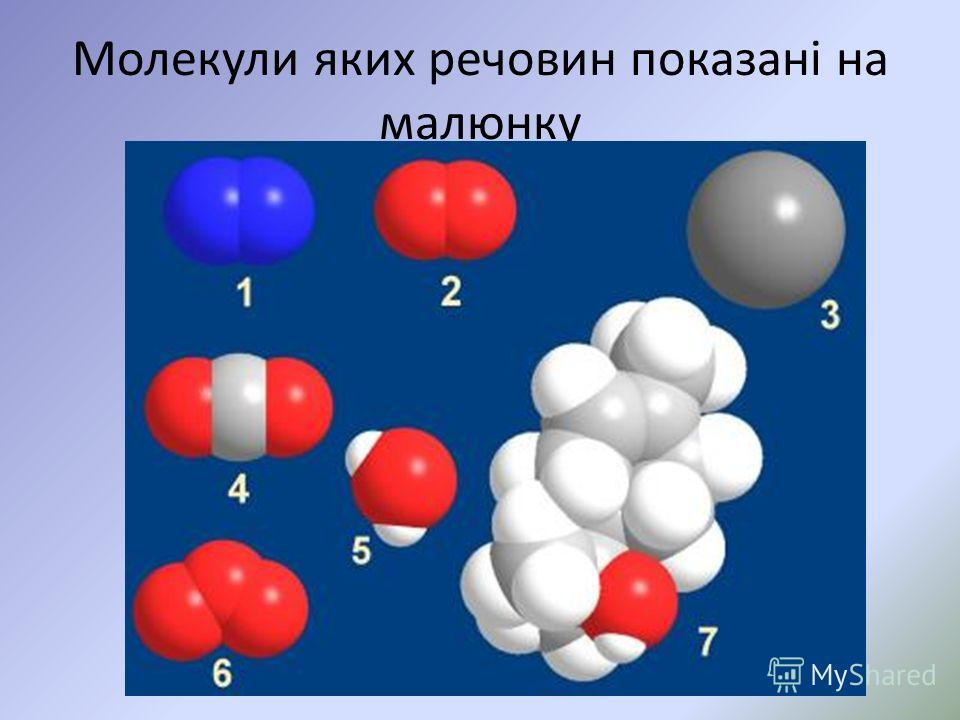 Молекули яких речовин показані на малюнку