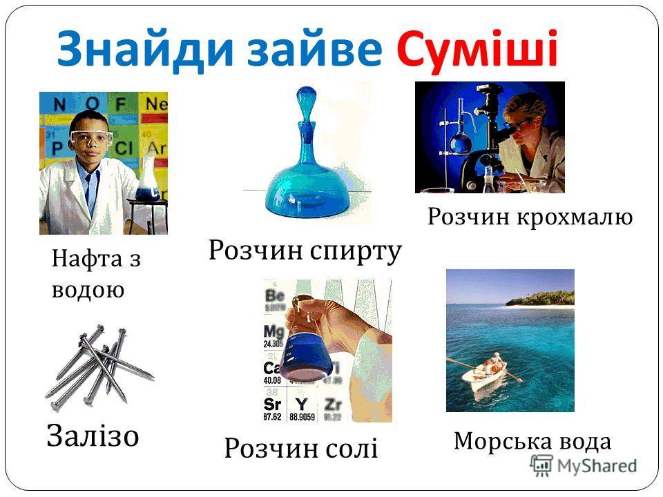 Знайди зайве Суміші Залізо Розчин солі Нафта з водою Розчин спирту Морська вода Розчин крохмалю