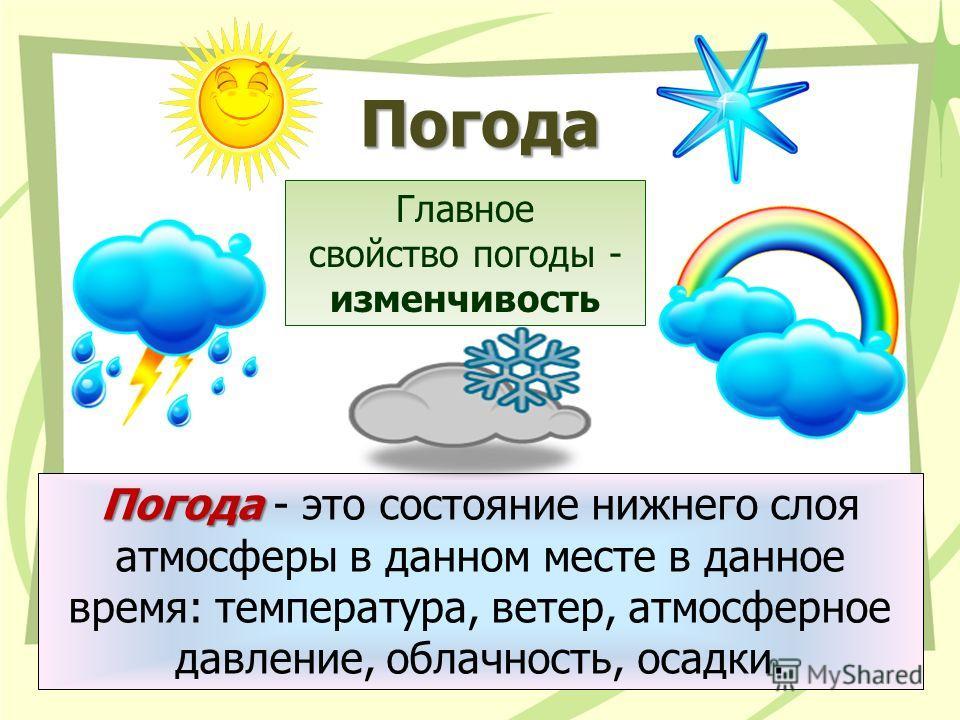 Погода Погода Погода - это состояние нижнего слоя атмосферы в данном месте в данное время: температура, ветер, атмосферное давление, облачность, осадки. Главное свойство погоды - изменчивость