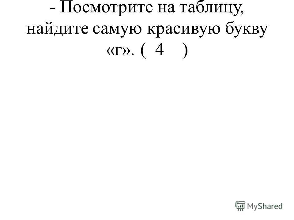 - Посмотрите на таблицу, найдите самую красивую букву «г». ( 4 )