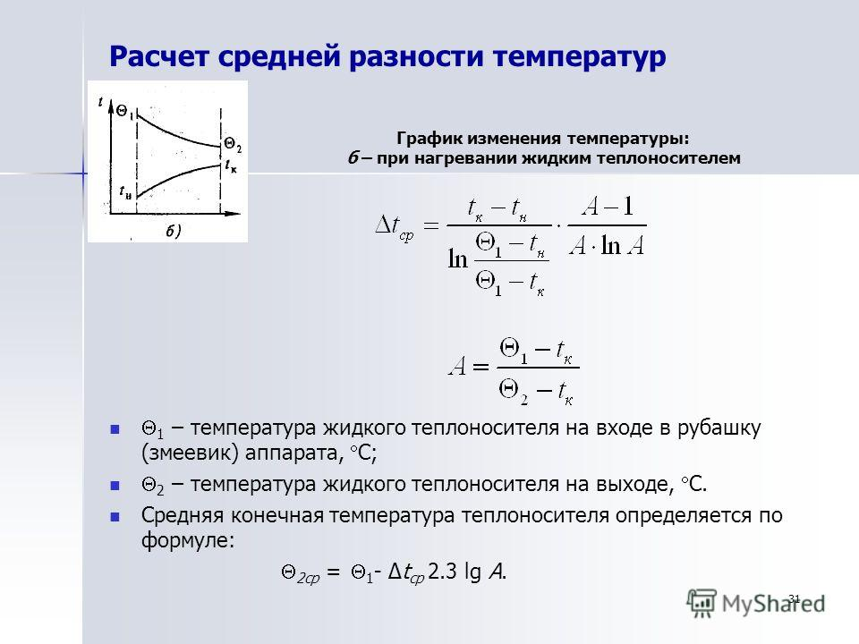 Расчет средней разности температур 1 – температура жидкого теплоносителя на входе в рубашку (змеевик) аппарата, С; 2 – температура жидкого теплоносителя на выходе, С. Средняя конечная температура теплоносителя определяется по формуле: 2ср = 1 - Δt ср