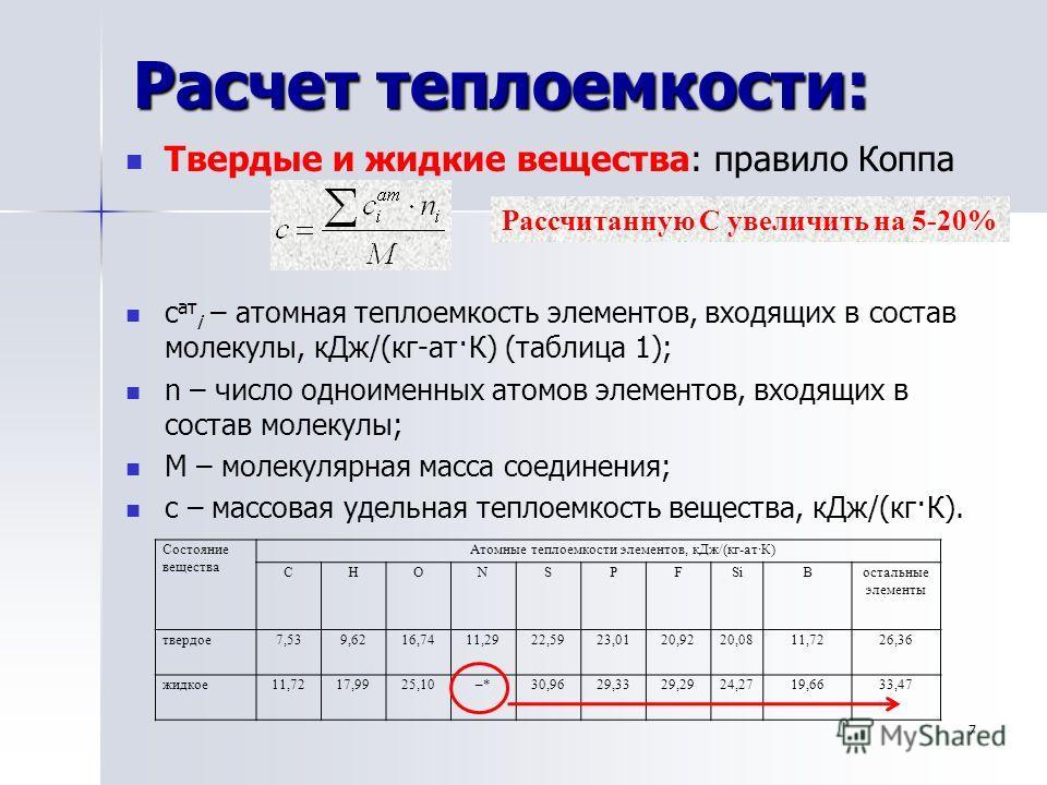Расчет теплоемкости: Твердые и жидкие вещества: правило Коппа с ат i – атомная теплоемкость элементов, входящих в состав молекулы, кДж/(кг-ат·К) (таблица 1); n – число одноименных атомов элементов, входящих в состав молекулы; М – молекулярная масса с