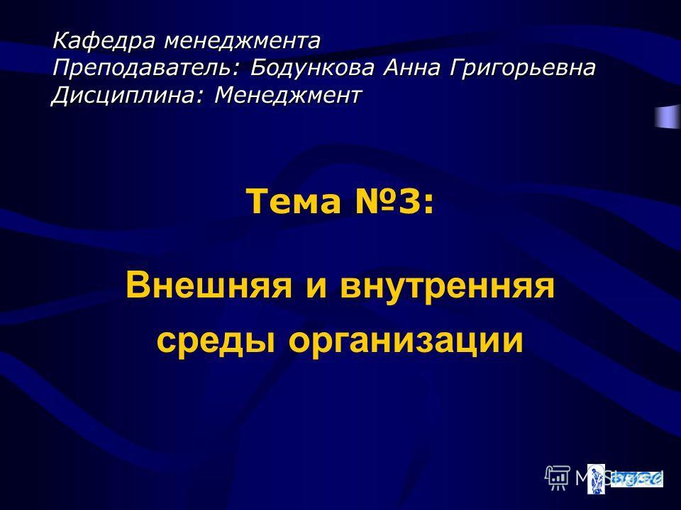 Кафедра менеджмента Преподаватель: Бодункова Анна Григорьевна Дисциплина: Менеджмент Тема 3: Внешняя и внутренняя среды организации