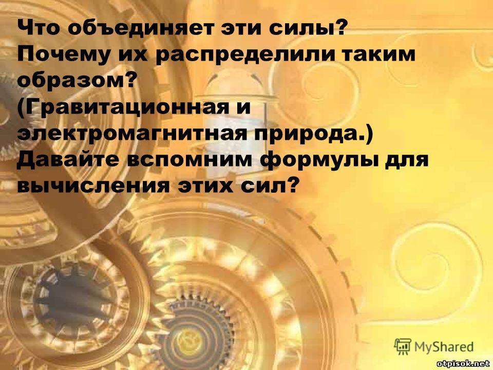 Что объединяет эти силы? Почему их распределили таким образом? (Гравитационная и электромагнитная природа.) Давайте вспомним формулы для вычисления этих сил?