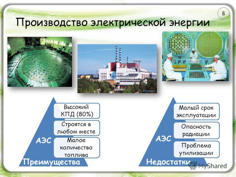 Производство электрической энергии Высокий КПД (80%) Строятся в любом месте Малое количество топлива Малый срок эксплуатации Опасность радиации Проблема утилизации ПреимуществаНедостатки АЭС 8
