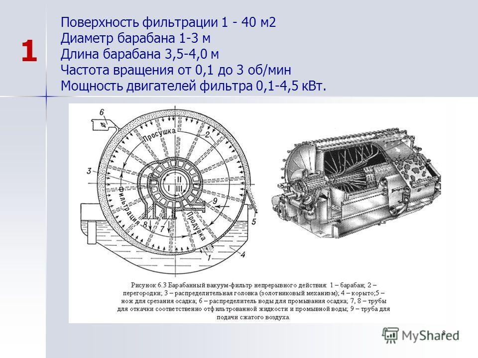 8 Поверхность фильтрации 1 - 40 м2 Диаметр барабана 1-3 м Длина барабана 3,5-4,0 м Частота вращения от 0,1 до 3 об/мин Мощность двигателей фильтра 0,1-4,5 кВт. 1