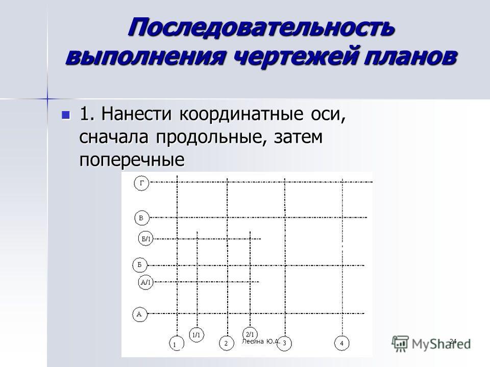 24 Последовательность выполнения чертежей планов 1. Нанести координатные оси, сначала продольные, затем поперечные 1. Нанести координатные оси, сначала продольные, затем поперечные Лесина Ю.А.