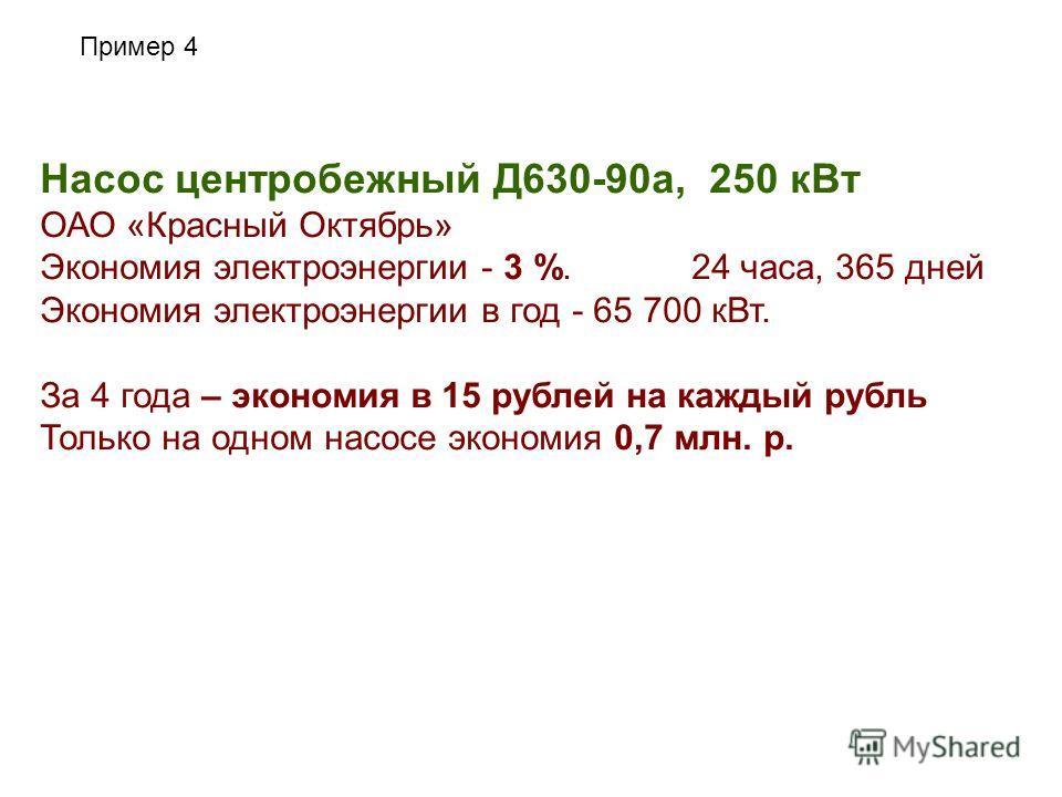 Пример 4 Насос центробежный Д630-90а, 250 кВт ОАО «Красный Октябрь» Экономия электроэнергии - 3 %. 24 часа, 365 дней Экономия электроэнергии в год - 65 700 кВт. За 4 года – экономия в 15 рублей на каждый рубль Только на одном насосе экономия 0,7 млн.