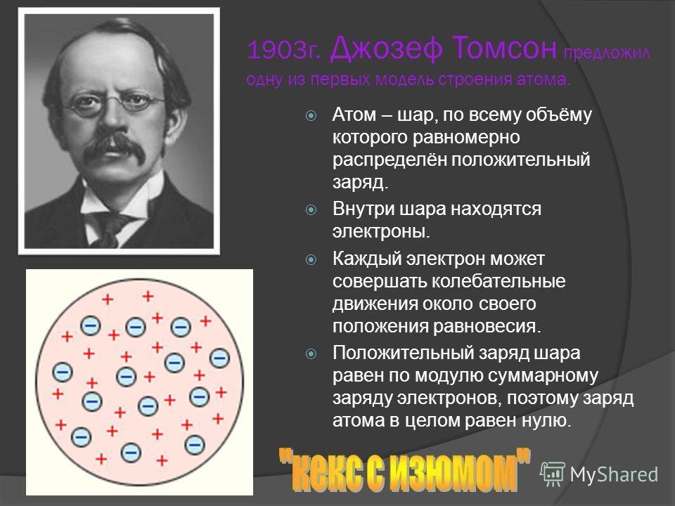 1903г. Джозеф Томсон предложил одну из первых модель строения атома. Атом – шар, по всему объёму которого равномерно распределён положительный заряд. Внутри шара находятся электроны. Каждый электрон может совершать колебательные движения около своего