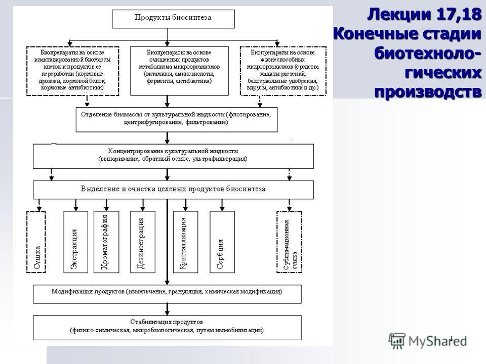 1 Лекции 17,18 Конечные стадии биотехноло- гических производств