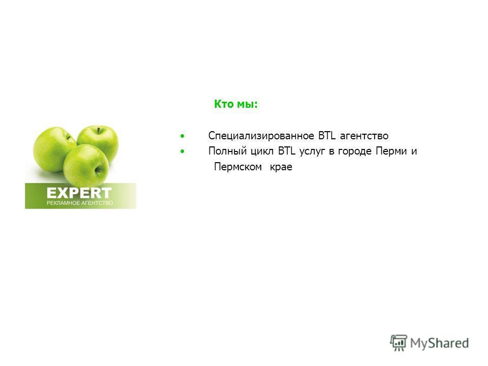 Кто мы: Специализированное BTL агентство Полный цикл BTL услуг в городе Перми и Пермском крае