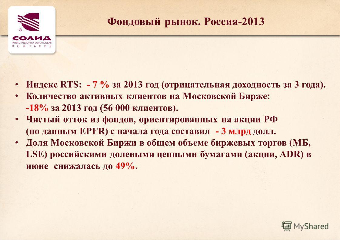 Индекс RTS: - 7 % за 2013 год (отрицательная доходность за 3 года). Количество активных клиентов на Московской Бирже: -18% за 2013 год (56 000 клиентов). Чистый отток из фондов, ориентированных на акции РФ (по данным EPFR) c начала года составил - 3