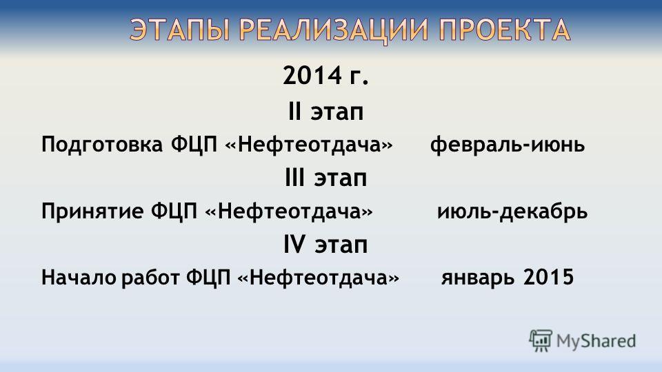 2014 г. II этап Подготовка ФЦП «Нефтеотдача» февраль-июнь III этап Принятие ФЦП «Нефтеотдача» июль-декабрь IV этап Начало работ ФЦП «Нефтеотдача» январь 2015