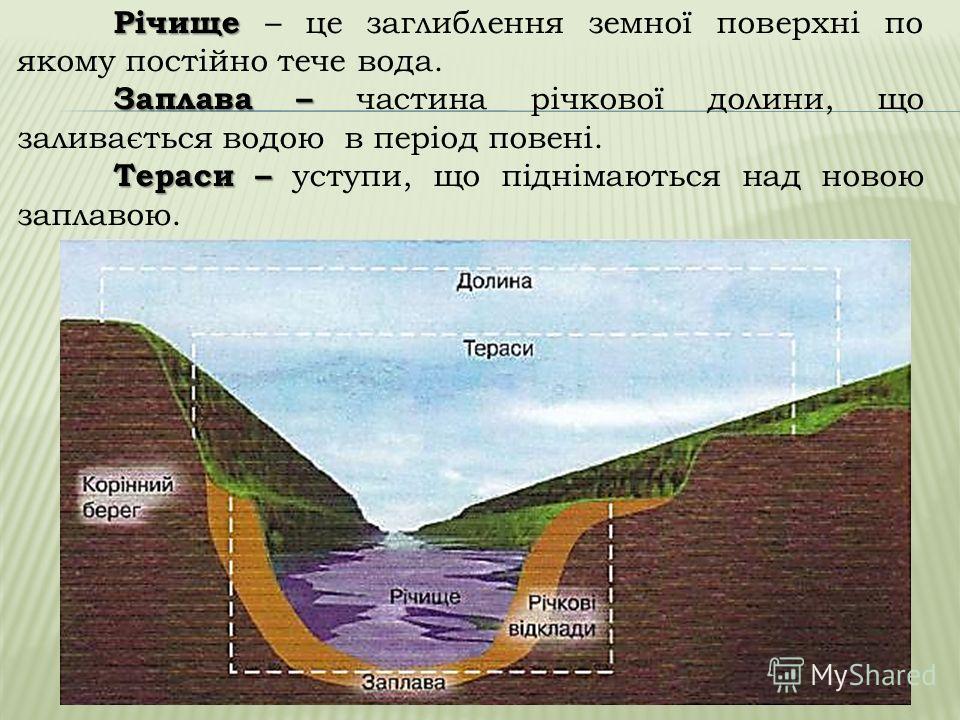 Елементи річкової долини Річкова долина Річкова долина – це звивисте заглиблення земної поверхні, по якому тече річка Тераси Заплава Річище