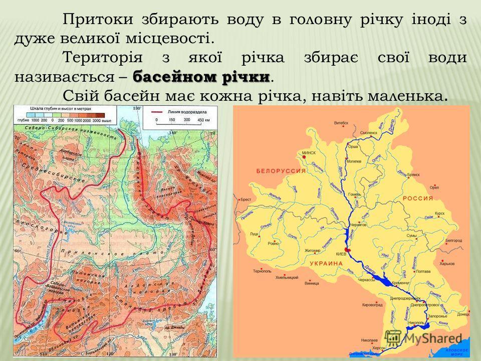 Річкова система – це річка з притоками. Притоки – ліві та праві. Щоб дізнатися, якою притокою ріки є інша річка - правою або лівою - треба уявити, що ви стоїте лицем до гирла головної річки (вниз за течією). Якщо притока впадає в головну річку справа
