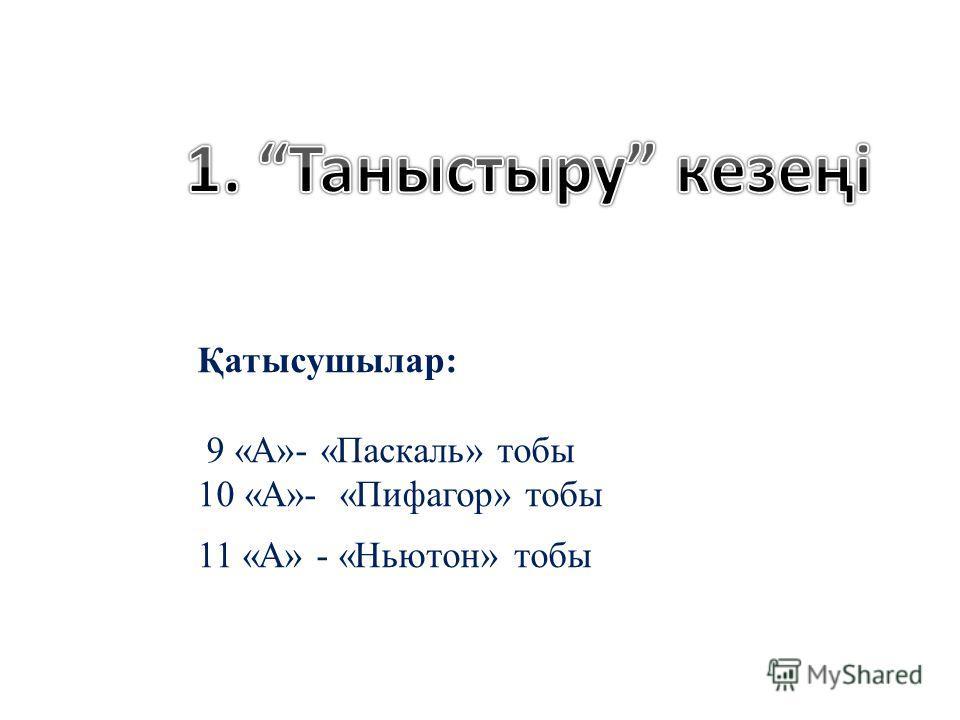 Қатысушылар: 9 «А»- «Паскаль» тобы 10 «А»- «Пифагор» тобы 11 «А» - «Ньютон» тобы