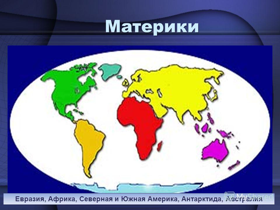 Материки Евразия, Африка, Северная и Южная Америка, Антарктида, Австралия
