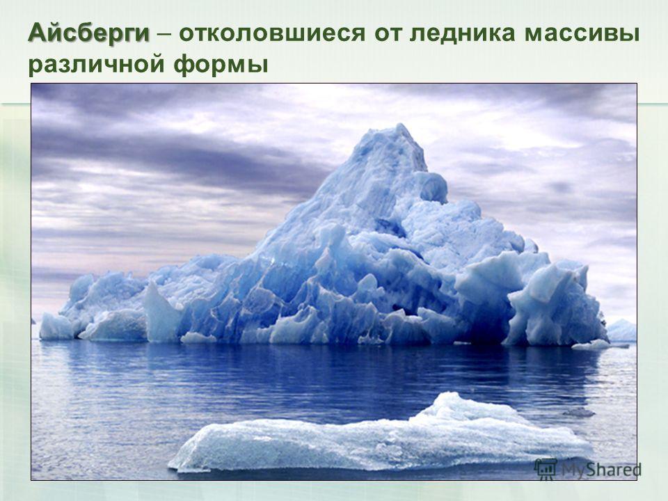 Айсберги Айсберги – отколовшиеся от ледника массивы различной формы