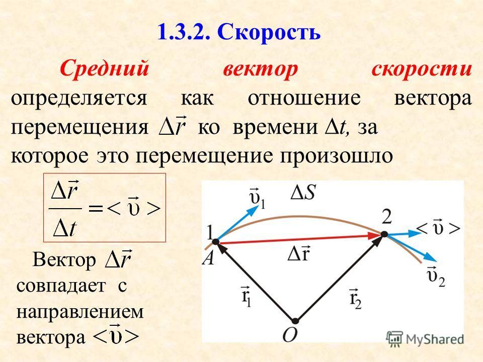 37 1.3.2. Скорость Средний вектор скорости определяется как отношение вектора перемещения ко времени t, за которое это перемещение произошло Вектор совпадает с направлением вектора