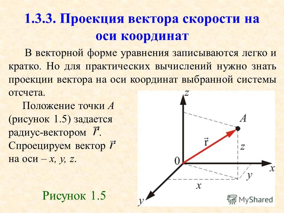 43 1.3.3. Проекция вектора скорости на оси координат В векторной форме уравнения записываются легко и кратко. Но для практических вычислений нужно знать проекции вектора на оси координат выбранной системы отсчета. Положение точки А (рисунок 1.5) зада