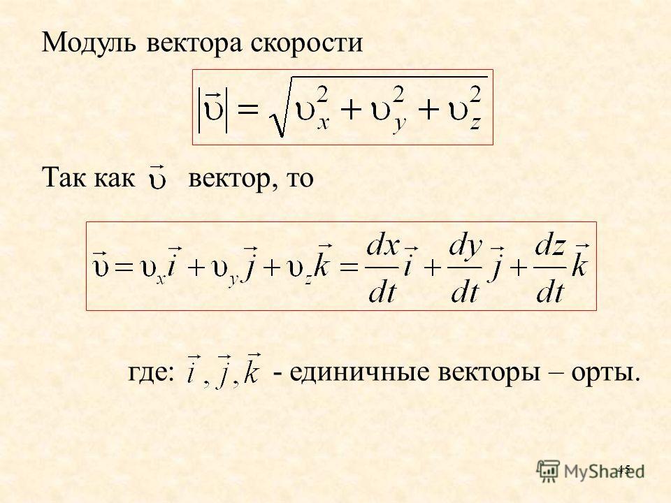 45 где: - единичные векторы – орты. Модуль вектора скорости Так как вектор, то