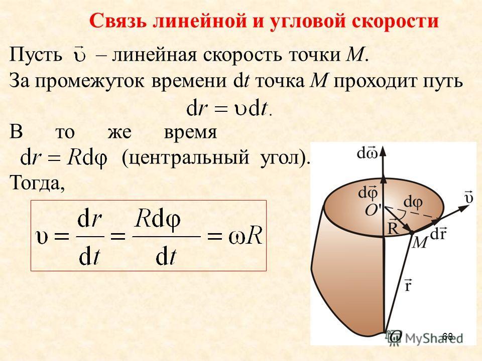 68 Связь линейной и угловой скорости Пусть – линейная скорость точки М. За промежуток времени dt точка М проходит путь В то же время (центральный угол). Тогда,