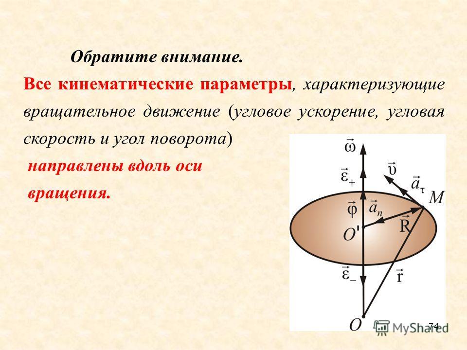 74 Обратите внимание. Все кинематические параметры, характеризующие вращательное движение (угловое ускорение, угловая скорость и угол поворота) направлены вдоль оси вращения.