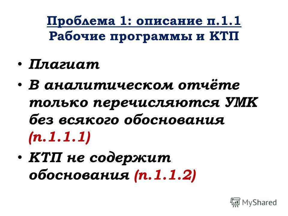 Проблема 1: описание п.1.1 Рабочие программы и КТП Плагиат В аналитическом отчёте только перечисляются УМК без всякого обоснования (п.1.1.1) КТП не содержит обоснования (п.1.1.2)