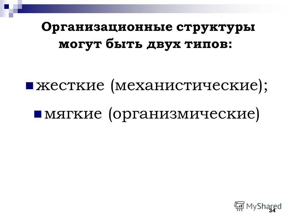 34 жесткие (механистические); мягкие (организмические) Организационные структуры могут быть двух типов:
