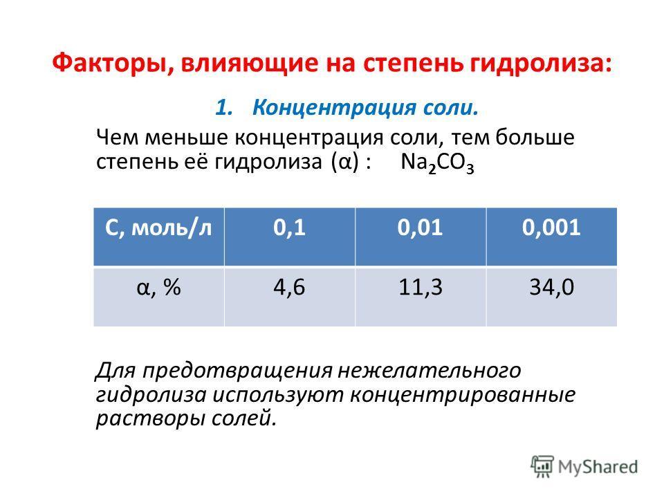 Факторы, влияющие на степень гидролиза: 1.Концентрация соли. Чем меньше концентрация соли, тем больше степень её гидролиза (α) : Na 2 CO 3 Для предотвращения нежелательного гидролиза используют концентрированные растворы солей. С, моль/л0,10,010,001