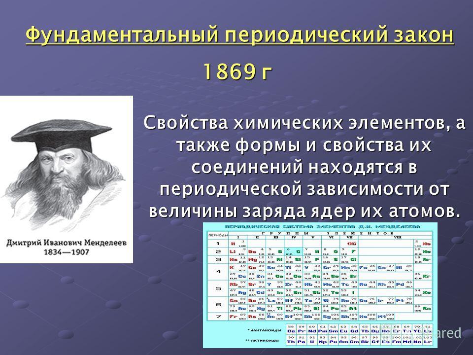 Свойства химических элементов, а также формы и свойства их соединений находятся в периодической зависимости от величины заряда ядер их атомов. Фундаментальный периодический закон Фундаментальный периодический закон 1869 г