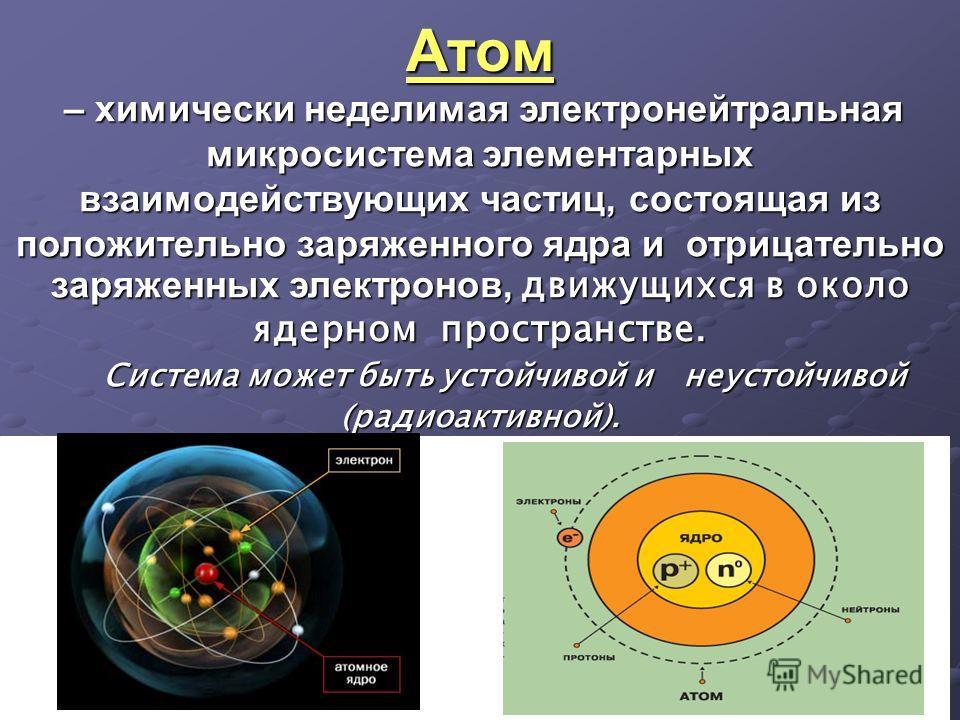 Атом – химически неделимая электронейтральная микросистема элементарных взаимодействующих частиц, состоящая из положительно заряженного ядра и отрицательно заряженных электронов, движущихся в около ядерном пространстве. – химически неделимая электрон