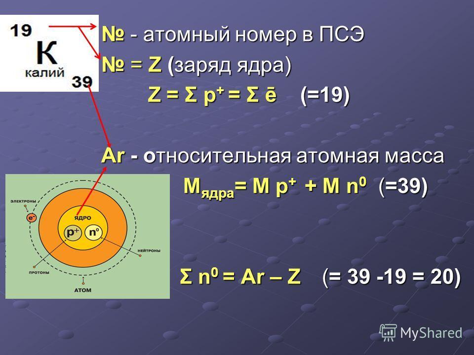 - атомный номер в ПСЭ - атомный номер в ПСЭ = Z (заряд ядра) = Z (заряд ядра) Z = Σ р + = Σ ē (=19) Z = Σ р + = Σ ē (=19) Ar - относительная атомная масса M ядра = M р + + M n 0 (=39) M ядра = M р + + M n 0 (=39) Σ n 0 = Ar – Z (= 39 -19 = 20) Σ n 0