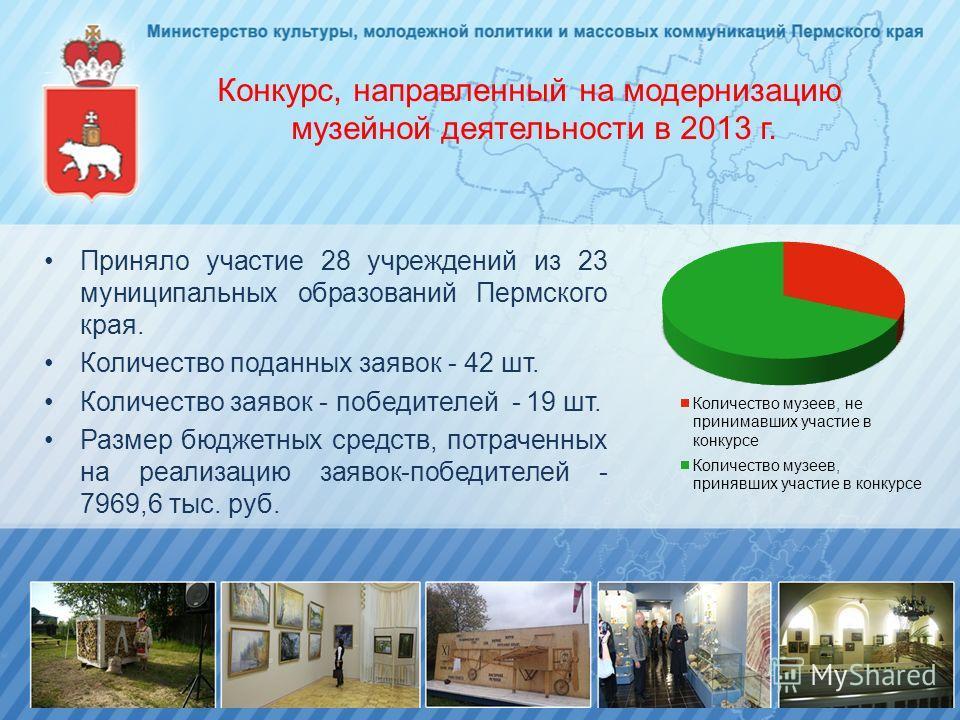 Конкурс, направленный на модернизацию музейной деятельности в 2013 г. Приняло участие 28 учреждений из 23 муниципальных образований Пермского края. Количество поданных заявок - 42 шт. Количество заявок - победителей - 19 шт. Размер бюджетных средств,