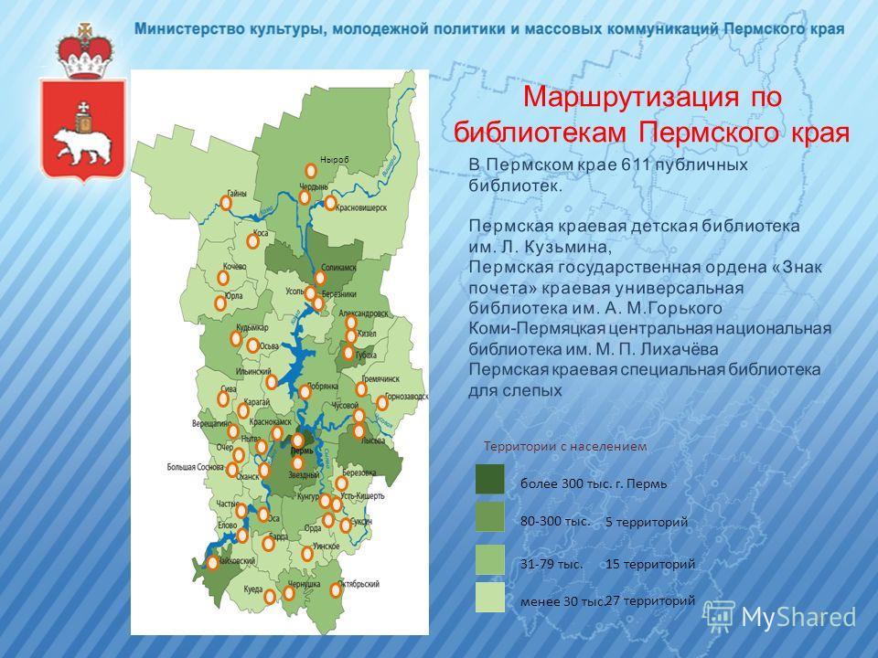 Маршрутизация по библиотекам Пермского края 15 территорий менее 30 тыс. 31-79 тыс. 80-300 тыс. более 300 тыс. г. Пермь Территории с населением 5 территорий 27 территорий 6 Ныроб