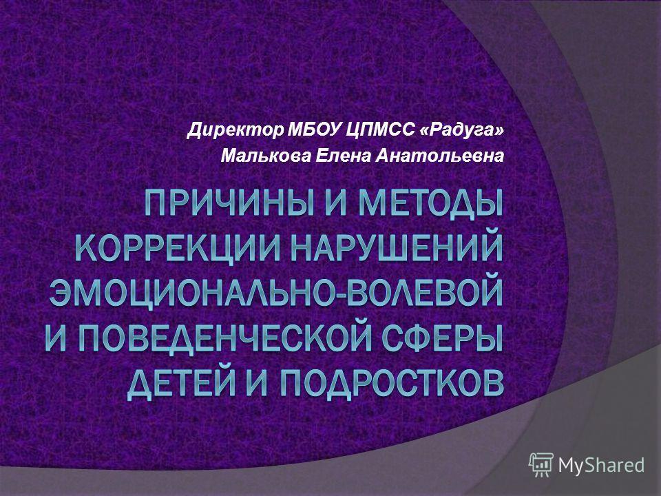 Директор МБОУ ЦПМСС «Радуга» Малькова Елена Анатольевна