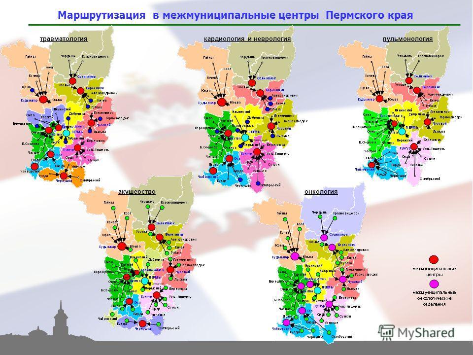 пульмонология Маршрутизация в межмуниципальные центры Пермского края травматологиякардиология и неврология онкологияакушерство