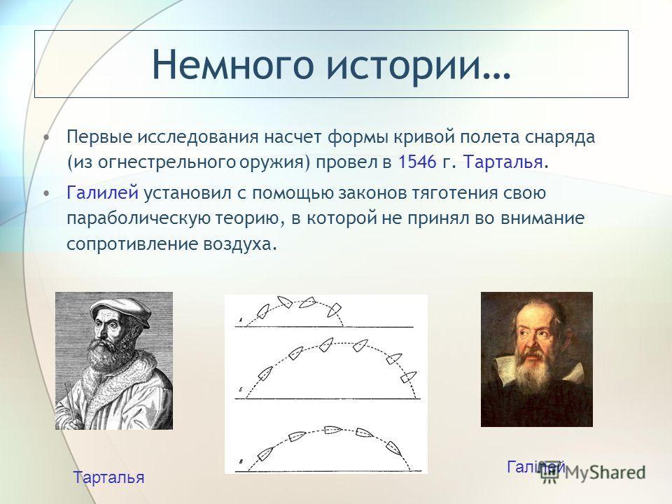 Немного истории… Первые исследования насчет формы кривой полета снаряда (из огнестрельного оружия) провел в 1546 г. Тарталья. Галилей установил с помощью законов тяготения свою параболическую теорию, в которой не принял во внимание сопротивление возд