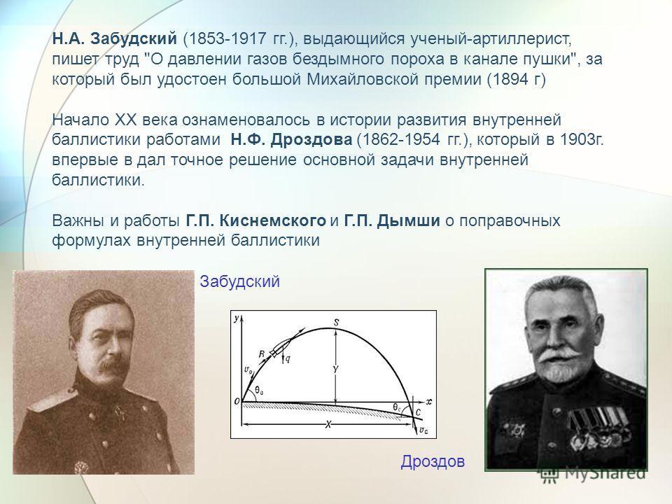 Н.А. Забудский (1853-1917 гг.), выдающийся ученый-артиллерист, пишет труд