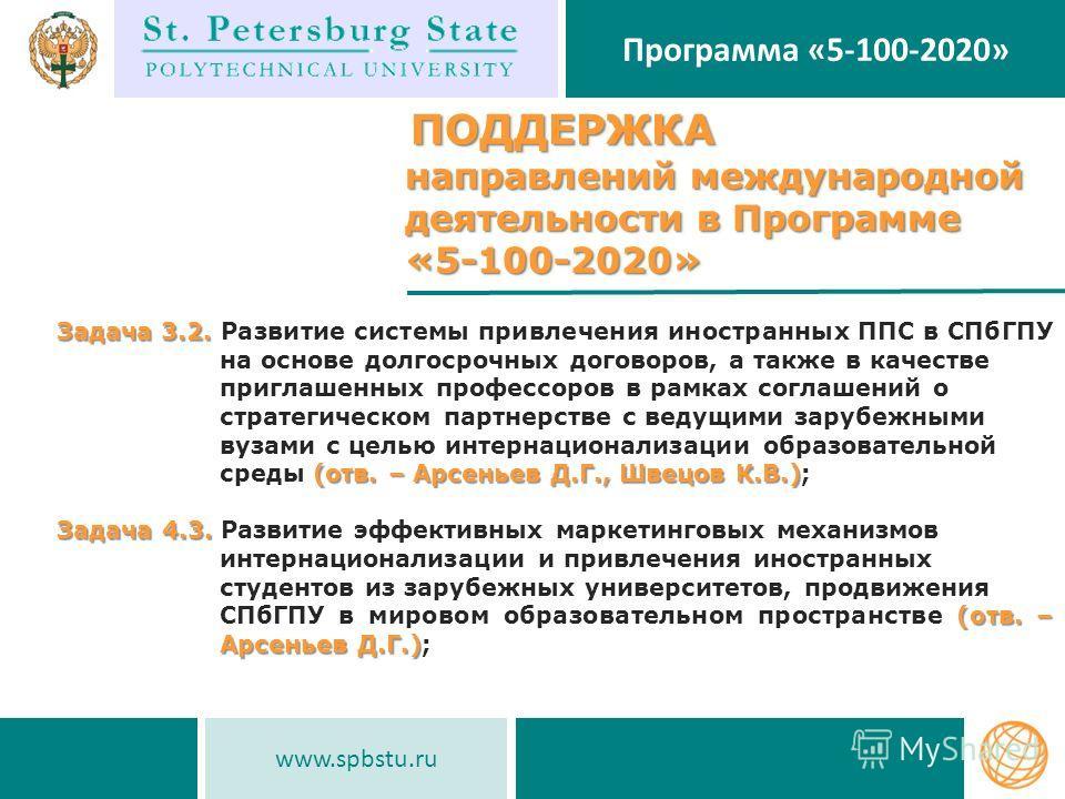 www.spbstu.ru Программа «5-100-2020» ПОДДЕРЖКА ПОДДЕРЖКА направлений международной деятельности в Программе направлений международной деятельности в Программе «5-100-2020» «5-100-2020» ПОДДЕРЖКА ПОДДЕРЖКА направлений международной деятельности в Прог
