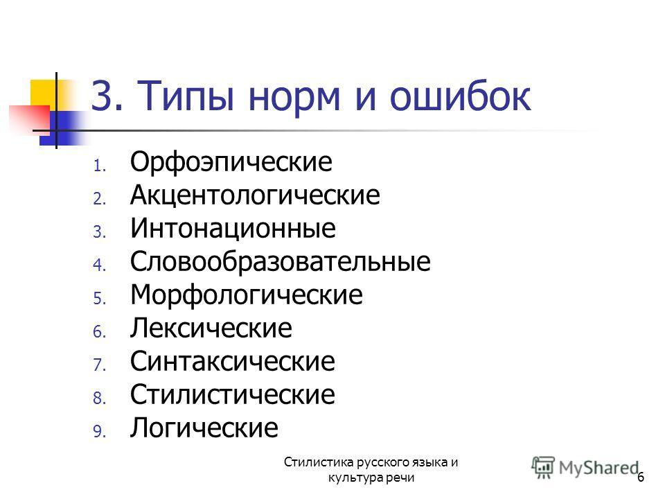 3. Типы норм и ошибок 1. Орфоэпические 2. Акцентологические 3. Интонационные 4. Словообразовательные 5. Морфологические 6. Лексические 7. Синтаксические 8. Стилистические 9. Логические Стилистика русского языка и культура речи6