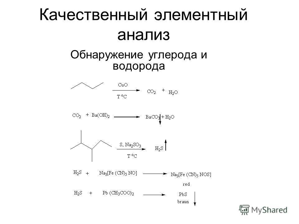 Качественный элементный анализ Обнаружение углерода и водорода