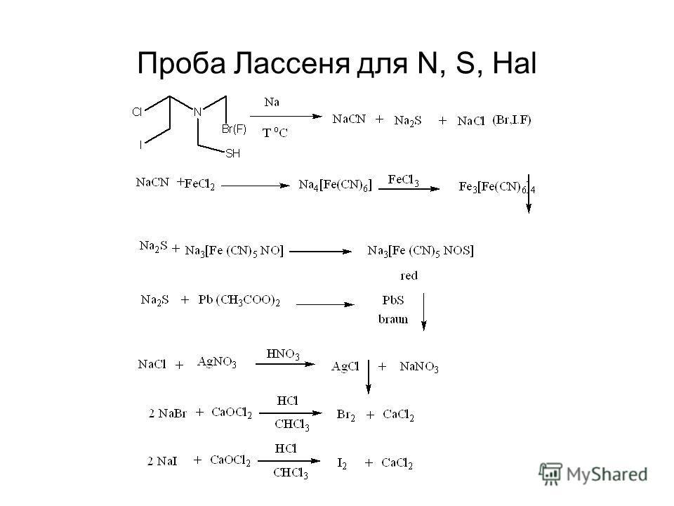 Проба Лассеня для N, S, Hal