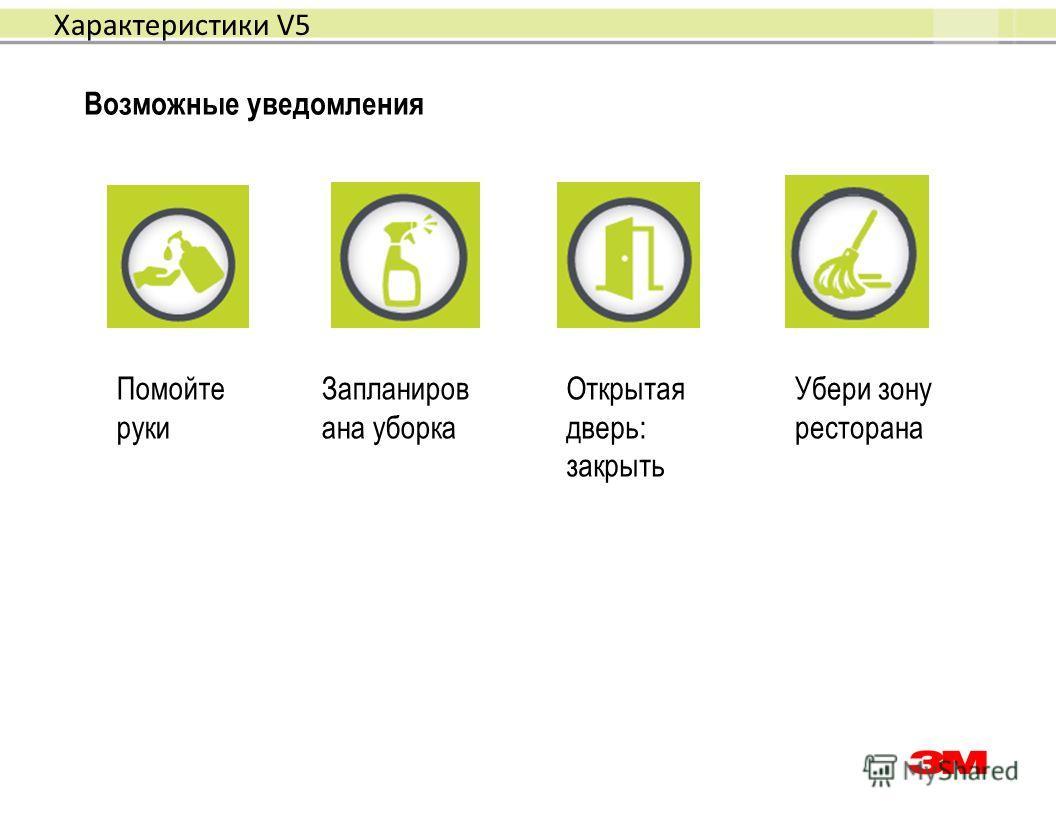 Возможные уведомления Помойте руки Запланиров ана уборка Открытая дверь: закрыть Убери зону ресторана Характеристики V5