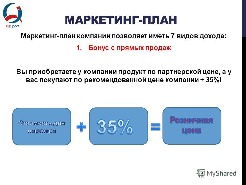 МАРКЕТИНГ-ПЛАН Маркетинг-план компании позволяет иметь 7 видов дохода: 1.Бонус с прямых продаж Вы приобретаете у компании продукт по партнерской цене, а у вас покупают по рекомендованной цене компании + 35%!