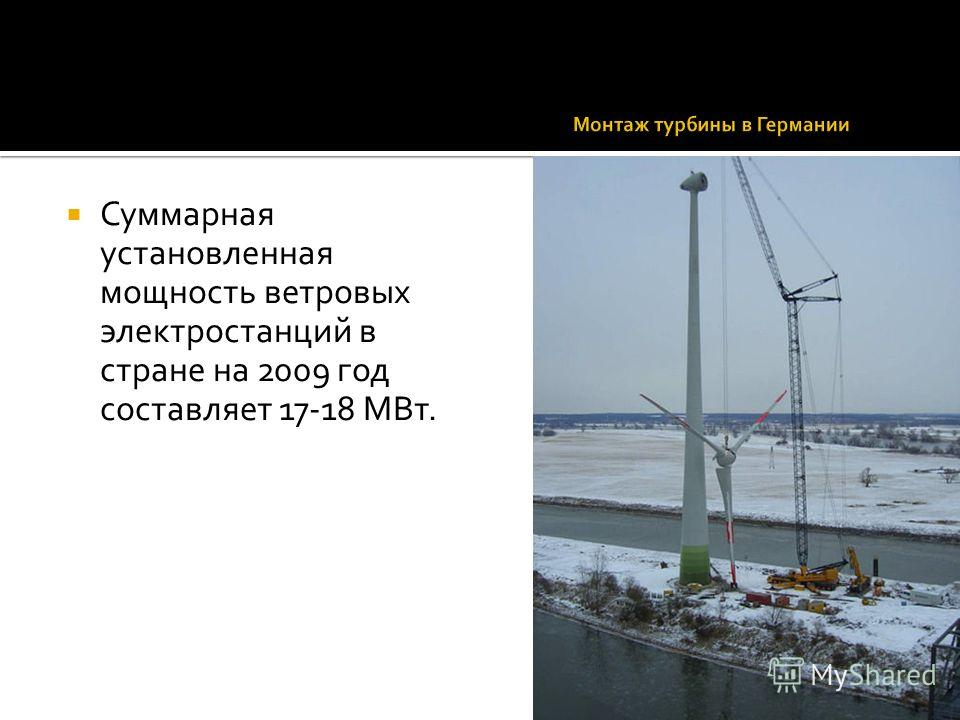 Суммарная установленная мощность ветровых электростанций в стране на 2009 год составляет 17-18 МВт.
